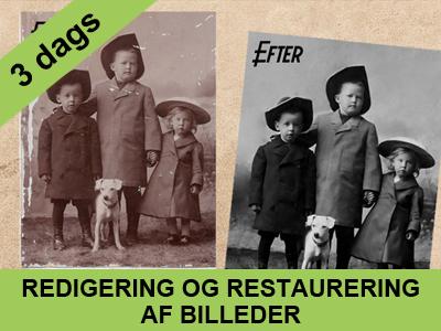 redigering og restaurering af gamle billeder 3 dags kursus fra Wolfdesign