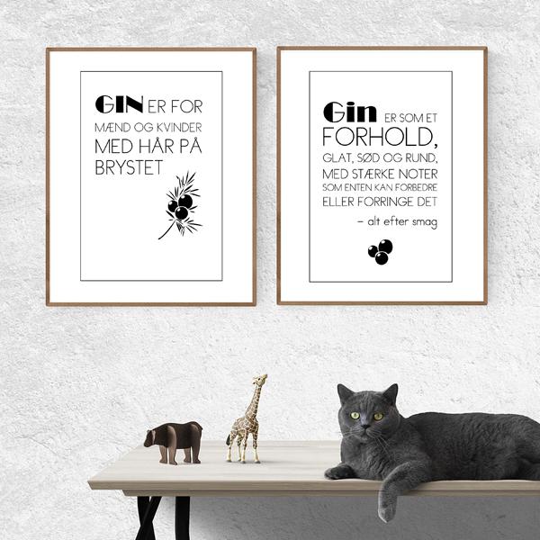 gin pakke med to gin plakat med citater om Gin - fra Wolfdesign