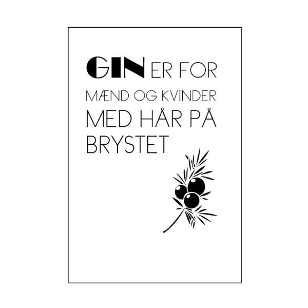 Gin er for de seje - Gin er både for seje mænd og kvinder - Plakat fra Wolfdesign