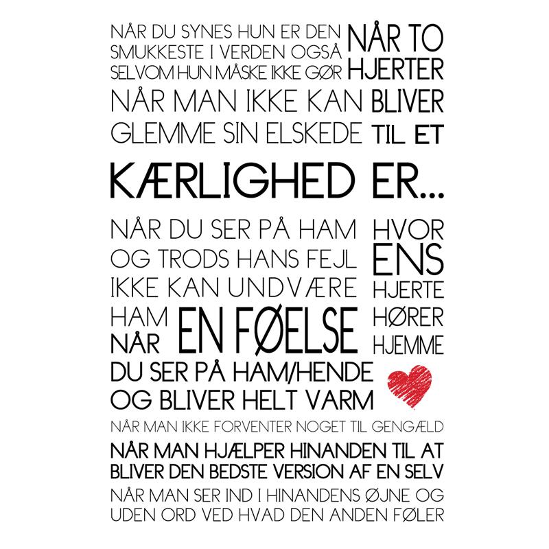 Kærlighed er...Tekstplakat fra Wolfdesign