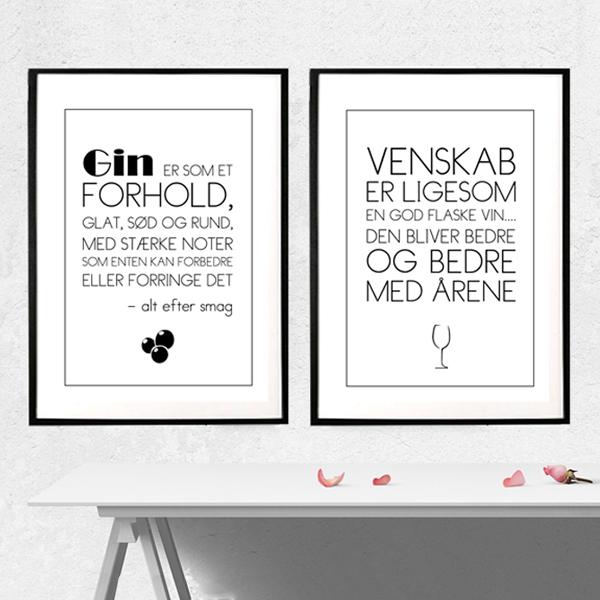 Gin, vin, forhold og venskab - tekst plakater fra Wolfdesign