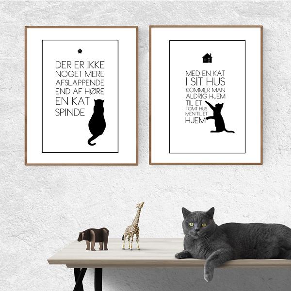 Mit liv med kat - sampack med katte tekst plakater fra Wolfdesign