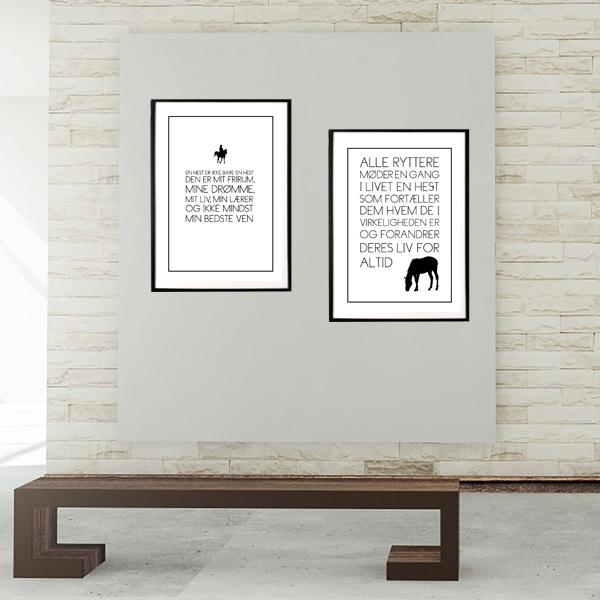 Mit liv med hest - sampack med to heste tekst plakater fra Wolfdesign