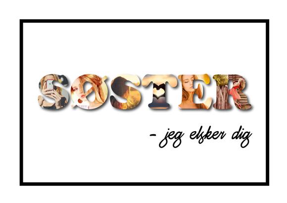 Søster – Jeg elsker dig i farver - fortæl din søster at du elsker hende - plakater fra Wolfdesign