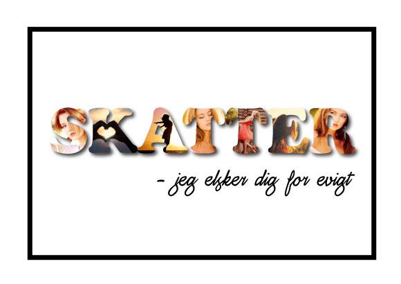 Skatter – Jeg elsker dig for evigt i farver - personlig gave til en du elsker fra Wolfdesign